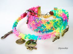 Rave Bracelet Set Disco Neon colors Macrame Bracelet  by Spondeo