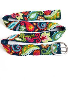 Peruvian Embroidered Belt -Hand woven and embroidered by women in the Andes of Peru. -100% sheep's wool and non-toxic dyes.