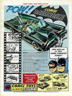 Batman 1966 Batmobile Corgi Toy Metal Sign x Childhood Toys, Childhood Memories, Vintage Advertisements, Vintage Ads, Vintage Dolls, Retro Advertising, Gi Joe, Batman 1966, Batman Batmobile