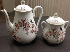 France-Tea Or Coffee Pot Hand Painted Birds, Cherry Blossoms With Matching Pot | eBay