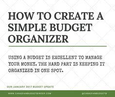 It's time to get organized and dust off your budget. Let me show you how easy it is to create a simple budget organizer.