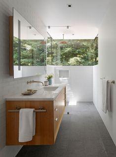 Modern country farmhouse located in Calistoga, Napa Valley, California, designed by Bohlin Cywinski Jackson. Spa Like Bathroom, Wood Bathroom, Grey Bathrooms, Bathroom Layout, Amazing Bathrooms, Nature Bathroom, Bathroom Inspo, Bathroom Niche, Bathrooms Decor