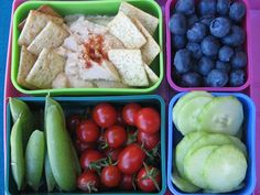One of our favorite lunches! A variety of garden veggies, a few crackers, a slice of cheese and hummus!