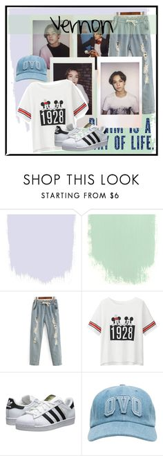 """""""•Vernon• #seventeen"""" by mini-dixon ❤ liked on Polyvore featuring Uniqlo and adidas Originals"""