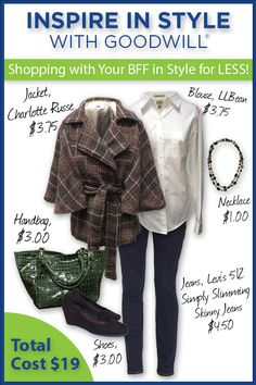 InspireInStyle takes you shopping with your BFF in a stylish outfit for less! Skinny jeans, white shirt, a necklace, a trendy jacket, wedges, and a handbag all together total only $19.00! Shopping at Goodwill not only leaves you plenty of money for other fun things, you are also helping your community! www.goodwillvalleys.com/shop/