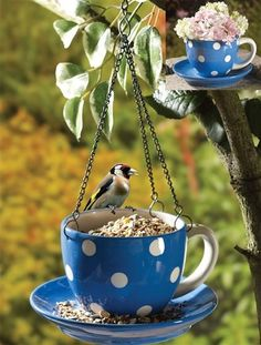 Ceramic Blue Teacup And Saucer Birdfeeder/planter Brand New