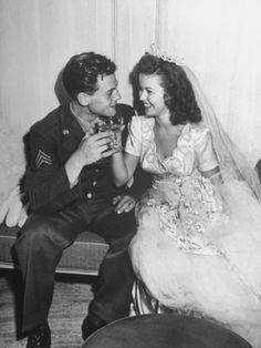 Shirley Temple 17 with husband Air Force Sgt. John Agar