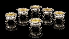A set of six parcel-gilt salt cellarsSazikov, St. Petersburg, 1850-1853