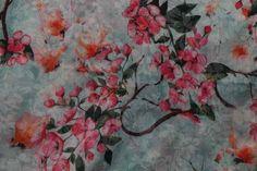 NB18 4219-021 voile katoen/polyester bloemen licht-aqua/multi