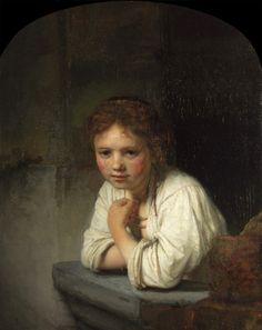 """A Girl at a Window"" in 1645 by Rembrandt van Rijn (1606 -1669). Oil on oak"
