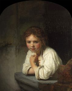 """""""A Girl at a Window"""" in 1645 by Rembrandt van Rijn (1606 -1669). Oil on oak (82x61cm). Dulwich Picture Gallery, London. """"The identity of the girl is uncertain: servant (the most accepted), family member or courtesan. Rembrandt's ability to conjure up the sense of a living can still astound, while the warmth and humanity in the girl's unsentimental gaze continues undiminished. Cleaning also permitted a clearer appreciation of sweeps of the brush (around the girl's left eye)."""" by Dulwich…"""