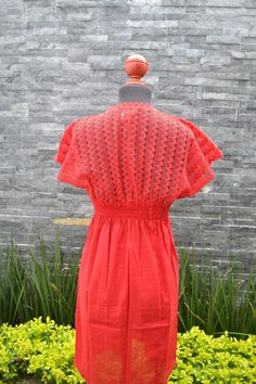 Chiapas Flowered Dress Huipil Dress Mexican Dress   Etsy Mexican Embroidered Dress, Embroidered Blouse, Traditional Mexican Shirts, Mexican Dresses, Mexican Style, Ethnic Fashion, Handmade Clothes, Flower Dresses, Floral Blouse