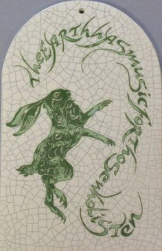 """Arch Hare Tile - """"The earth has music"""" by Mel Chambers Petunias, Hare, Rabbits, Bunnies, Tiles, My Love, Spring, Music, Quotes"""