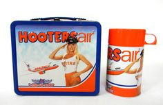 "Hooters Air Metal Lunch Box Thermos Tin Rare Collectible 7 3/4"" #Hooters"