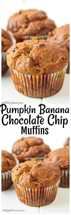 Pumpkin Banana Chip Muffins. The combination of chocolate and pumpkin is amazing, add in the bananas and you have the most amazing muffins ever!
