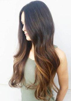 long dark brown hair with balayage highlights