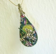 Spoon Necklace Pendant with Silver Frog & Rainforest Background ~ $39.00