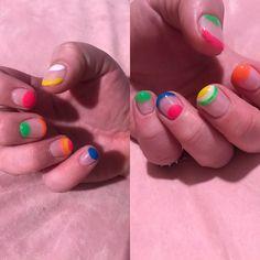 Rainbow Nail Art Negative Space Bright neon rainbow designs on negative space for short nails Rainbow Nail Art, Neon Rainbow, Negative Space Nails, Short Nails, Bright, Nail Hacks