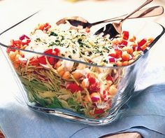 ITALIAN LAYERED SALAD: Layer Greens of choice, Broccoli Slaw, Canned-rinsed Beans, Veggies of choice (i add Tomato, Pepper, Avocado, Zucchini), Creamy Italian Dressing, Sprinkle Parmesan Cheese...