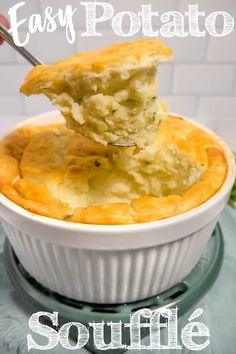 This potato soufflé takes ordinary mashed potatoes and transforms them into the fluffiest cloud-like potatoes with a golden brown crust. The perfect side dish for any meal.