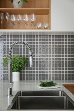 Reno Rumble 2016 Leanne and Dane's Kitchen Makeover - Scandi Inspired Grey Square Splashback Tiles
