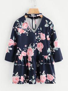 1f9321875898 Flower Print Choker Neck Smock Top EmmaCloth-Women Fast Fashion Online