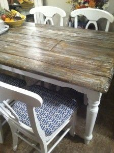 Use a router to create false planks on your tabletop, then give it a faux finish. Great way to give an old piece a facelift. Inspiration.