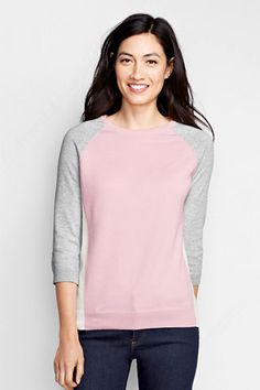 Women's 3/4-sleeve Supima Raglan Colorblock Sweater from Lands' End $35
