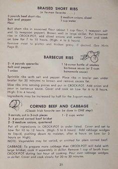 Corned Beef Recipes, Rib Recipes, Slow Cooker Recipes, Crockpot Recipes, Sunday Dinner Recipes, Instant Pot Dinner Recipes, Dinner Ideas, Kitchens
