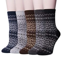d9256a677ff3a 5 Pairs Womens Winter Wool Socks Thick Knit Warm Causal C... https:
