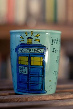 """Doctor Who """"Good cup of tea"""" Tenth Doctor hand painted quote mug"""