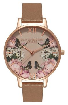 Olivia Burton 'Enchanted Garden' Leather Strap Watch, 38mm available at #Nordstrom