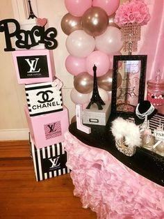 Simple Sweet 16 Party Ideas on a Budget - Dessert Table Paris themed candy Table Chanel Party, Chanel Birthday Party, Paris Themed Birthday Party, 13th Birthday Parties, 16th Birthday, Sweet 16 Birthday, Spa Birthday, Paris Birthday Themes, Birthday Ideas