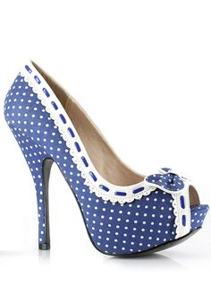 Ellie shoes BP556-GWENDOLYN High heel platform shoes in ribbon work on front done with open toe idea, comes in blue tone body with white polka dot finish, white lace lining on hem done with string seam design finish.