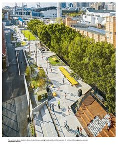 The Goods Line is an elevated, pedestrian-scale linear park in Sydney that maintains a constant level of public life. Landscape And Urbanism, Landscape Architecture Design, Urban Architecture, City Landscape, Landscape Plans, Urban Landscape, Masterplan Architecture, Poket Park, Parque Linear