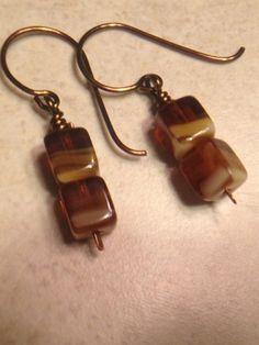 Brown Dangle Earrings Drop Earrings Cubes Czech by LadonnaStudio, $18.00