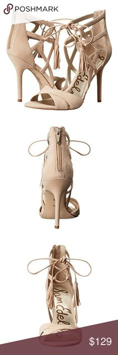 """Sam Edelman • strappy nude sandal Sam Edelman * shoes / sandals * nude / neutral * genuine suede upper & wrapped heel * back zip closure w/ silver tone hardware * strappy caged style * open toe silhouette * criss cross lacing straps w/ tassel embellishment * high heels = 3.5"""" * brand new in box - PRICE FIRM - ONLY 1 * spring * summer * dressy * wedding * party * date * weekend * formal * prom * graduation * tan * beige * ankle strap * laced * cut out * sexy * Sam Edelman Shoes Sandals"""