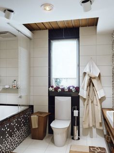 Bathroom, Astonishing White Black Small Bathroom Design With Flower Decoration Window And Contemporary Toilet Feats Clothes Towel And Modern...
