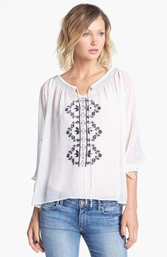 Willow & Clay Embroidered Chiffon Peasant Top | Nordstrom