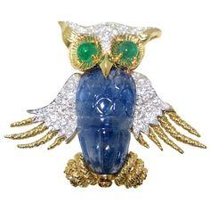 DAVID WEBB Owl Brooch