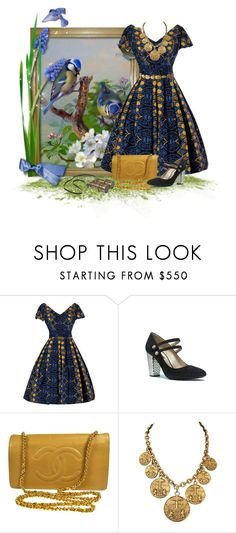 """Bird Watching Blues"" by mimi1207 ❤ liked on Polyvore featuring Marc Jacobs, Chanel and vintage"