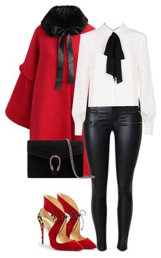 """#blackbow"" by pana-canaj ❤ liked on Polyvore featuring Chicwish, Claudie Pierlot, Christian Louboutin and Gucci"