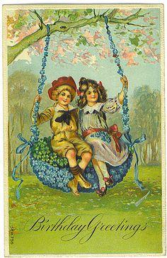 Birthday Greetings vintage postcard