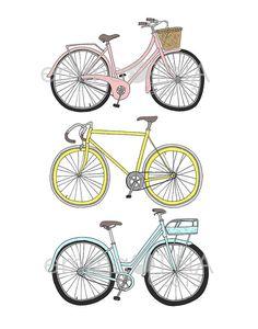 Bicycles Decorative Illustration Art Print by emmakisstina on Etsy