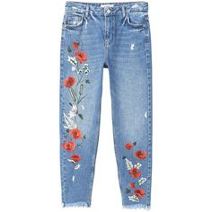 Embroidered Relaxed Jeans (1,130 MXN) ❤ liked on Polyvore featuring jeans, pants, bottoms, trousers, flower embroidered jeans, 5 pocket jeans, frayed hem jeans, zipper jeans and zip jeans