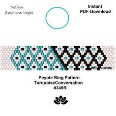 peyote ring pattern,PDF-Download, #349R, beaded ring pattern, beading tutorials, ring pattern,pdf patterns,pattern design,instant download von bellepatterns auf Etsy
