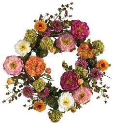 Nearly Natural 24 inches Mixed Peony Wreath - contemporary - Wreaths And Garlands