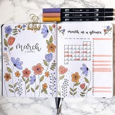 Bullet Journal Inspiration for March Bullet Journal School, March Bullet Journal, Bullet Journal Headers, Bullet Journal Banner, Bullet Journal Writing, Bullet Journal Aesthetic, Bullet Journal Ideas Pages, Bullet Journal Spread, Bullet Journal Layout