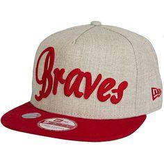 New Era 9FIFTY Cap Heather Chain Atlanta Braves beige/rot