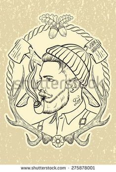 Hand drawn portrait of bearded and tattooed lumberjack with tobacco pipe. - stock vector